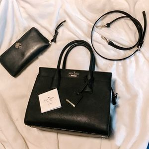 Kate Spade Black Satchel Cameron purse and wallet